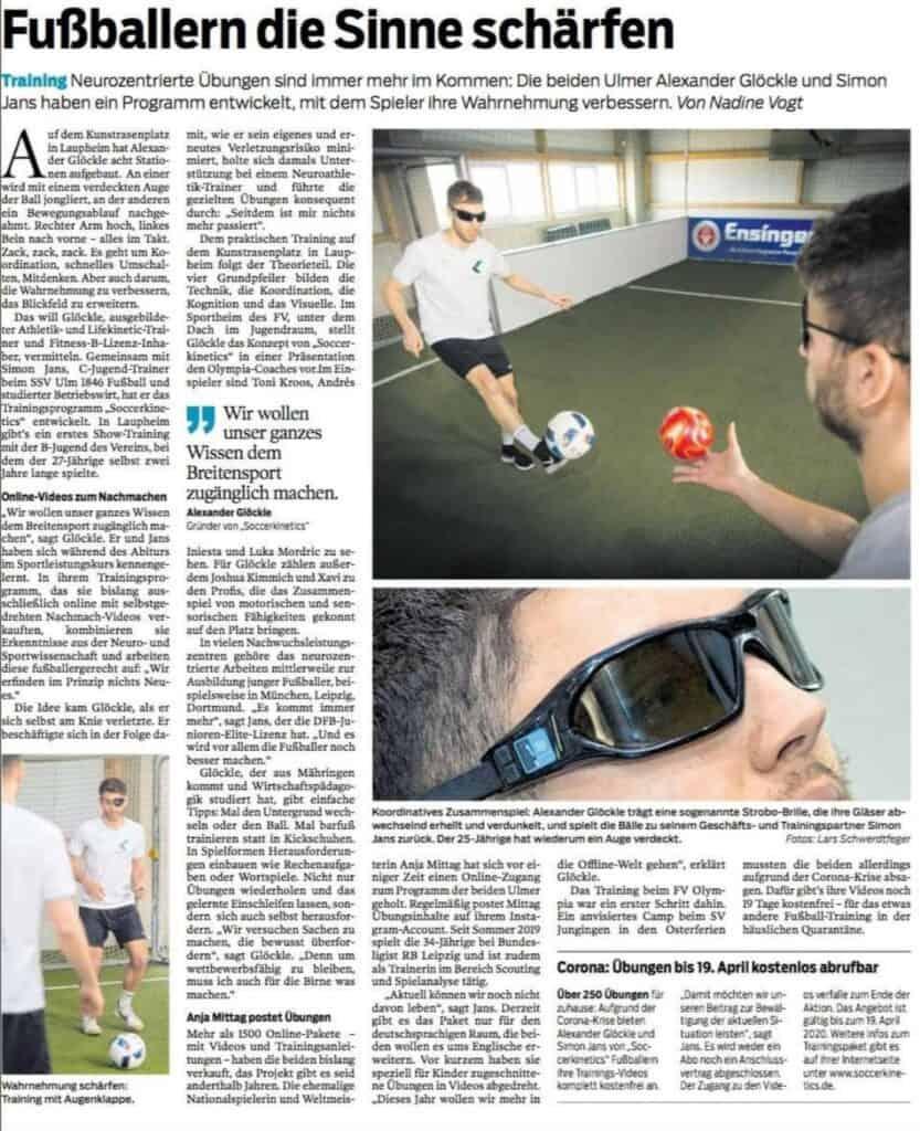 Südwest Presse Artikel Soccerkinetics 31.03.2020